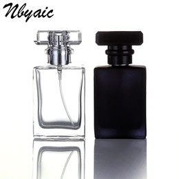 Wholesale Clear Glass Spray Bottles - Wholesale Black and Clear 30ML Square Flat Glass Perfume Spray Dispensing Cosmetics Portable Empty Bottle 300PCS LOT