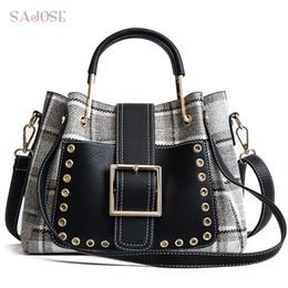 Шерстяные сумочки онлайн-Women Bag Fashion Handbag Houndstooth Vintage Lady Totes Bag High Quality Wool  Women's Shoulder Messenger Bags