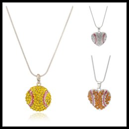 Wholesale Rhinestone Baseballs - 6 Styles Rhinestone Baseball Basketball Pendants Statement Necklaces Designer Jewelry Stainless Steel Jewelry Chokers Mothers Day Gifts