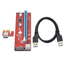 Wholesale Pci Interface Cards - CHIPAL 50Sets Red 60CM PCI-E 1X to 16X Riser Card Extender PCI Express Adapter+USB 3.0 Cable   15Pin SATA Molex Power Interface