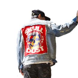 Patch crâne vintage en Ligne-2018 États-Unis Street Casual Hommes Outwear Rock Skull Denim veste Vintage Trou Patch Designs Loisirs Cowboy Manteau Survêtement
