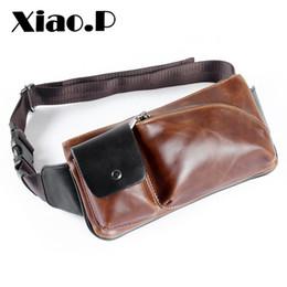 Wholesale Crazy Shoulders - New Crazy Horse PU Leather Waist Bag Bumbag Unisex Fashion Belt Bags Male Fanny Pack Small Waist Pack Man Crossbody Shoulder Bag