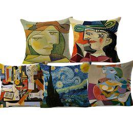 Pinturas de noite estrelado on-line-Pablo Picasso Pinturas Famosas Capas de Almofada A Surrealismo Noite Estrelada Abstrato Arte Capa de Almofada Decorativa de Linho de Algodão Fronha