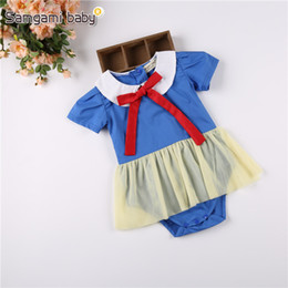 Wholesale Snow White Clothing Girls - Baby White Snow Rompers Red Bow Doll Collar Blue Short Sleeve Yellow Gauze Newborn Infant Girls Summer Clothing 3-24M