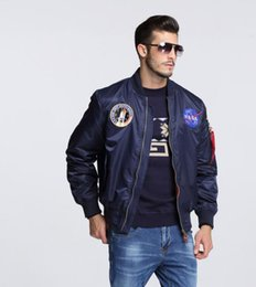 Hombres Bomber Flight Pilot Jacket Coat Thin Nasa Navy Flying Jacket Militar Fuerza Aérea Bordado Uniforme Ejército Verde Negro desde fabricantes