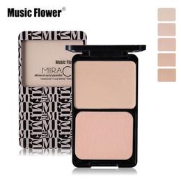 2019 blütengesicht stiftung Music Flower 5Colors Face Mae Shimmer Puder Langlebiges Make-up Concealer Puff Contour Nude Compact Cosmetics günstig blütengesicht stiftung