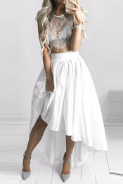 Wholesale Tea Length Chiffon Skirts - Sexy Two Pieces 2018 Crew Neck Lace Chiffon Wedding Dresses Capped Sleeves See Through Lace Bridal Dresses Hi-Lo Short A-Line Beach Bridal 1