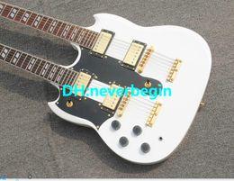 Canada Custom 1275 Double Neck gaucher guitare Double cou 6/12 cordes blanc guitare électrique Livraison gratuite Offre