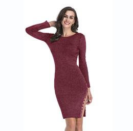 Wholesale Red Sweater Mini Dress - New Winter Dress Hem Split Button Closure knit Dress Long Hip Sweater Casual Dress