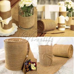 Wholesale meters table - 10 meter X 30cm Natural Jute Hessian Burlap Ribbon Roll Burlap Table Runners Wedding Party Chair Bands Vintage Home Decorations