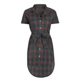 2e0f5599ce4 Women shirts Dress plaid Vintage dress 2018 Summer tunic Retro slim was  thin femme office Lady casual Vestidos WS8134y
