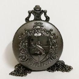 watch pendants Australia - Black Badger Harry Potter Hogwarts Hufflepuff School Color Dial Quartz Pocket Watch Analog Pendant Necklace Mens Womens Watches