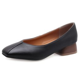 855527a94aff Smilice 2018 Woman Casual Pumps with Chunky Heel and Square Toe Simple  Design Elegant Working Chic Shoes with Large Size Available A240 affordable chic  work ...