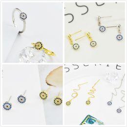silberne armbänder ohrringe Rabatt Neue Silber und Gold Farbe baumeln Ohrringe für Frauen einfache lange baumeln Ohrringe Ohrring Halskette Ring Armband Modeschmuck Set Wholsale