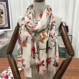 Écharpe papillons en Ligne-A14G- Original New 3D classique fleur de papillon 100% véritable écharpe en cachemire, bandeau de luxe Top catégorie femmes 100 * 200 cm