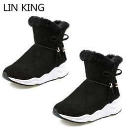 LIN KING Fringe Women Snow Boots Slip On Winter Swing Shoes Height Increase  Wedge Short Boots Warm Plush Anti Slip Casual Botas 1b25cc9312c5