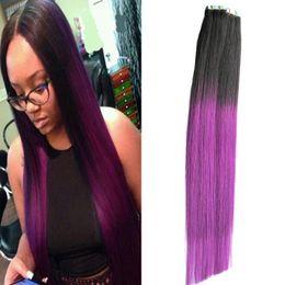 Trama del pelo humano del color púrpura online-Extensiones de cinta de trama de la piel 100G pelo recto brasileño 40Piece PU cinta de Ombre en extensiones de cabello humano T1B / púrpura