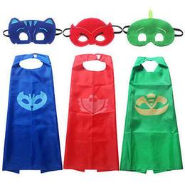 Wholesale Superman Mask Kids - 2pcs set New Toddler Kids Clothing Set PJ Mask Cape and Mask Children Set PJ Mask Superman Costume Kids Party Favor