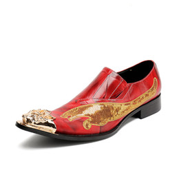 Wholesale Personalized Wedding Shoes - Personalized Men Red Leisure Leather Shoes Fashion Designer Metal Toe Glitter Leopard Pattern Slip On Party Shoes Gold 46