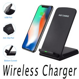 Wholesale Galaxy Note Pad - 2 Coils Qi Fast Charger Wireless Charger Stand Pad For iPhone X 8 Plus Samsung Galaxy Note 5 S7 S6 Edge Plus Mobile Phone