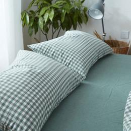 2019 almohadas japonesas Fundas de almohadas de lavado de rayas teñidas de hilo de estilo japonés 2 piezas / par 48 * 74 cm Funda de almohada Funda de almohada Fundas de almohada Funda de cama rebajas almohadas japonesas