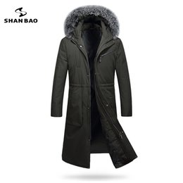 Wholesale Luxury Down Jacket Fur - 2017 winter thickening warm men long down jacket luxury high quality fox fur collar white duck down hood parka black Dark green