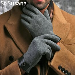 Baumwollhandschuhe ausstrecken online-2017 Winter Frühling handschuhe Mode tuch Handschuhe Große stretch baumwolle Männer handgelenk plüsch comfortble Männer touchscreen Fäustlinge