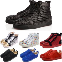 Wholesale low cut party tops - Original Box Red Bottoms For Men And Women Red Bottoms Sneakers High Top Red Bottom Spike Shoes Low Top Genuine Leather Party Wedding Shoes