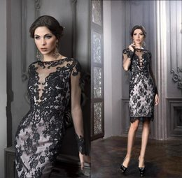 Wholesale Cocktail Dress Covered Jewels - Little Black Mother Of The Bride Groom Dresses Sheath Knee Length Elegant Plus Size Sheer Lace Sexy Evening Cocktail Gowns