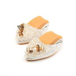 Wholesale string wedding dresses - Pointed Toe Women's Ballet Flats 2018 Butterfly Knot String Bead Casual Egg Roll Shoes Women Plus Size 34-45