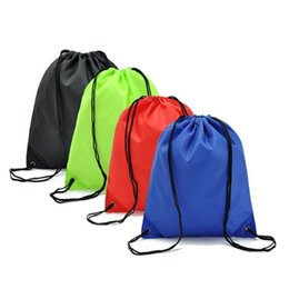wholesale solid color backpacks Coupons - Solid color simplicit Draw Backpack Bags Canvas Pocket Softback Shoulders Draw String Shop 35*40CM emoticon School Bags Donuts Party Xmas