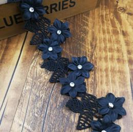 Wholesale bridal rhinestone beaded trim - 15Yard Beaded Rhinestone Chiffon 3D Flower Leaf Lace Trim Ribbon For Apparel Sewing DIY Bridal wedding Doll Cap Hair clip