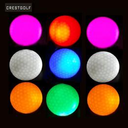 Wholesale Led Golf Balls - Wholesale-CRESTGOLF 10pcs Hi-Q USGA LED Golf Balls Night Training Constant Shining Two Layer Golf Practice Balls with 6 Colors for choice