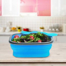 Wholesale Square Dishes Set - Collapsible Silicone Lunch Box BPA Free Foldable Bento Food Container With Tableware Fork Set #4469