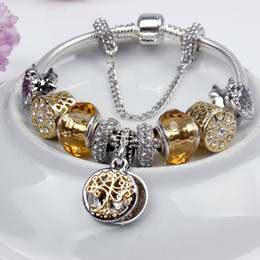 Wholesale Pandora Gold Charm Bracelets - Charm Beads Bracelet 925 Silver Pandora Bracelets Life Tree Pendant Bangle Charm Pandora Gold Bead as Gift Diy Jewelry with Logo