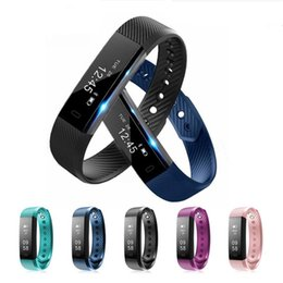 Wholesale step boxes - ID115 Smart Bracelet Fitness Tracker Step Counter Activity Heart Rate Monitor Band Alarm Clock Vibration Wristband for Android Retail Box