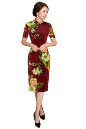 Mangas de vestido oriental on-line-Xangai história nova chegada veludo qipao chinês tradicional dress estilo chinês oriental dress manga curta outono cheongsam