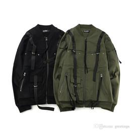 Wholesale Men Original Baseball Jacket - Free Shipping Men's Hip Hop Jackets Original Military Streamer Baseball Jacket Men Loose Oversize Zipper Jackets Coat