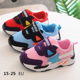 Botas de goma viejas online-Botas deportivas para niños, zapatos para caminar, niños y niñas, de 1 a 3 años, malla respirar suela de goma blanda
