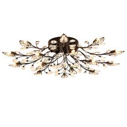 Canada Lampe en cristal américaine salon lampe de plafond atmosphère rétro simple conduit restaurant lumière ronde créative en fer forgé lustres de chambre Offre