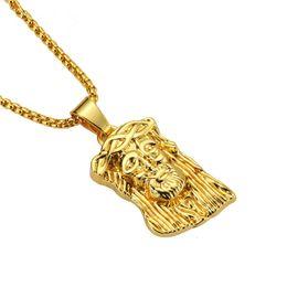 2020 le catene lunghe disegnano la moda Collane del pendente del pezzo di Gesù di modo degli uomini di disegno per Micro Rock Rap Hip Hop Gioielli in oro Mens 75cm Catene lunghe Gesù Collane le catene lunghe disegnano la moda economici
