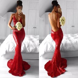 Wholesale Modern Design Lighting White - Sparkly Red Sequined Mermaid Evening Dresses 2018 New Design Sexy Backless Spaghetti Straps Sweep Train Prom Dress BA7966