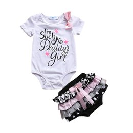 1caf76bec7b 2018 INS baby girl toddler 2piece set outfits Romper Onesies Jumpsuits +  tutu bow lace ruffle pants shorts bloomers I m Such a Daddy s Girl