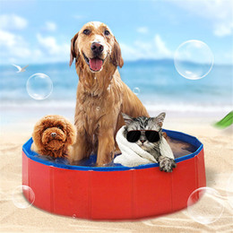 Wholesale swimming dogs - 80*20cm Foldable Pet Swimming Pool Bathing Outdoor Garden Tub Bathtub for Dog Cats Washer Foldable LJJM19