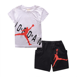 Wholesale Boys Designer Shirts - Champion Logo Famous Basketball Sports Brand Designer Baby Boy Clothes Set Summer Short Sleeve T-shirt Shorts Two Piece Set