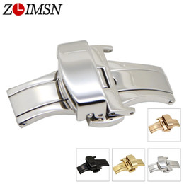steel push button Coupons - ZLIMSN Wholesale Double Push Button Fold Automatic Butterfly Buckle Watchband Stainless Steel Clasp Relojes Hombre