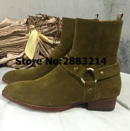 Black Brown Round Toe Buckle Strap Men Real Suede Leather Flats Boots Shoes  Italy Style Man Chelsea Boots Shoes Euro Size 37-46 c1fb6d024562