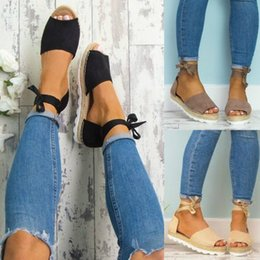 Wholesale platform shoes strappy heels - Women Straw Espadrilles Sandals Peep Toe Platform Ankle Strappy Lace Up Casual Shoes Large Size EUR 35-43