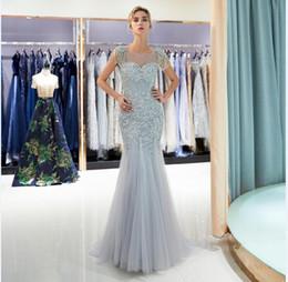 2019 vestido de noiva de sereia de lantejoulas de strass 2018 sereia de cristal Em Estoque frisado Vestidos De Noiva jóia do pescoço Elegante Do Casamento vestidos de noiva Único Tassel vestido de festa de casamento 71697