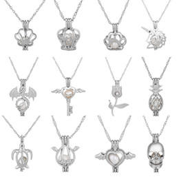 Wholesale Fish Pendant Gold Filled - HOT 2018 Oyster pearl Pendant Necklaces Unicorn Cages Locket Hollow Out Love Wish Pearl Necklace Fish Heart Mermaid Crown Skull DIY jewelry